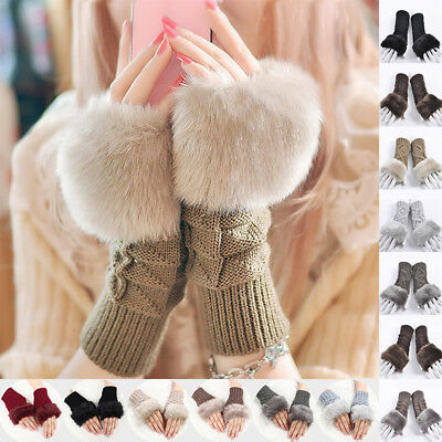 AU Women Winter Faux Rabbit Fur Soft Warm Knitted Wool Fingerless Gloves Mittens