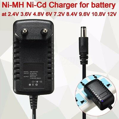 Black Ni-MH Ni-Cd Charger For Battery 2.4V 3.6V 4.8V 6V 7.2V 8.4V 9.6V 10.8V 12V