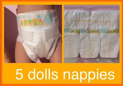 """Unbranded Dolls Nappies x 5 fit 16""""- 20"""" dolls (Baby Born, Baby Annabelle etc)"""