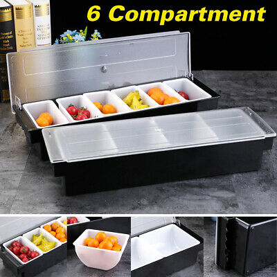 6 Compartment Condiment Holder Bar Fruit Lemo Storage Drinks Cocktail Dispenser