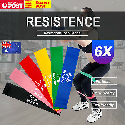 6Pcs Resistance Loop Bands Mini Band Crossfit Strength Fitness Exercise GYM  AU
