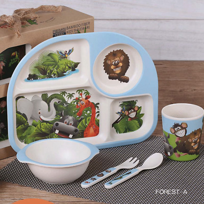 5pcs Forest Bamboo Fiber Baby Kids Food Safe BPA Free Feeding Tableware