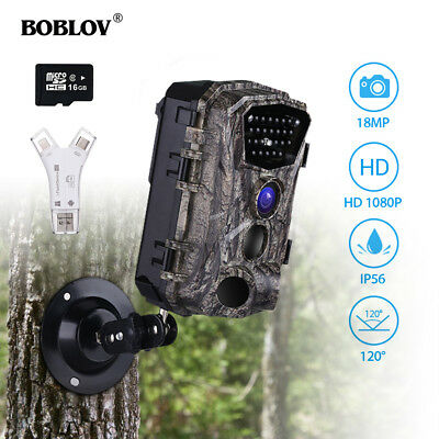 18MP 1080P HD IR Night Vision Hunting Trail Scout Camera+16GB+SD Card Reader