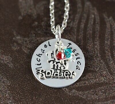 Custom, Handstamped Necklace for Army Wife, Armed Services Girlfriend Gift