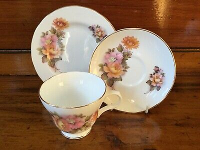 Vintage Tea Set Trio Cup Saucer Side Plate Bone China Pink Flowers Crown Trent