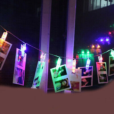 LED Photo Picture Peg Clip Hanging String Light Room Party Decoration FI