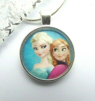 Princess Frozen Elsa And Anna Pendant With Gift Box 16, 18, 20, 22 Inch Chain