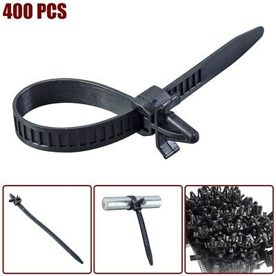 "400 Pcs 5.9"" Nylon Wing Push Mount Cable Zip Ties Cord Wrap Wire Organizer Black"