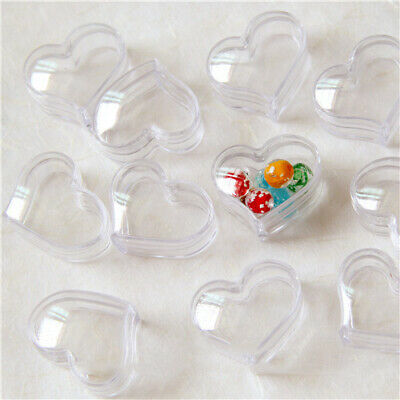 50PCS Mini Plastic Bead Containers Heart Shape Clear Pot Jars Bottles 30x18mm