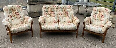 Ercol Saville 3 Piece Suite 2 Seater Sofa & 2 Chairs Ash Golden Dawn Frame