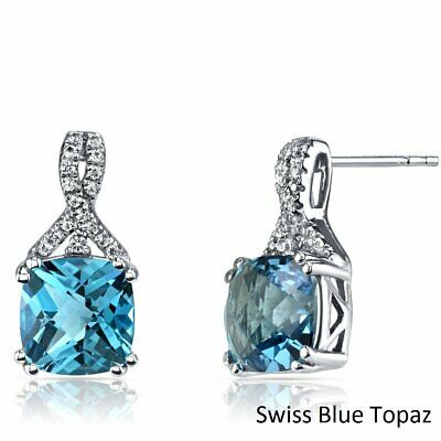 3 1/5 ct Created Swiss Blue Topaz  Stud Earrings in 18K White Gold Plated