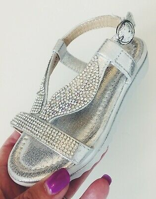 Spot On H1073 Gold Shimmer Glitter Diamante Buckle Fastened Summer Party Shoes