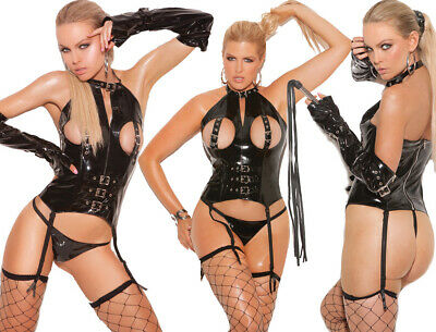 Elegant Moments Black Wet Look Vinyl Cupless Bustier/Body With Buckle Detail