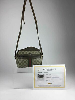 bf8d663e416d Authentic Vintage Gucci GG Supreme Brown Coated Canvas Crossbody Bag