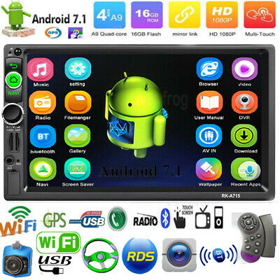 7 In 2Din Quad Core Android 7.1 Car Stereo MP5 Player GPS WiFi AM/FM/ADS Radio