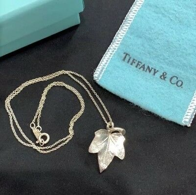 """52bd03aaa Tiffany & Co. Rare 1994 Ivy Leaf Pendant Necklace 4.8g Sterling Silver 16"""""""