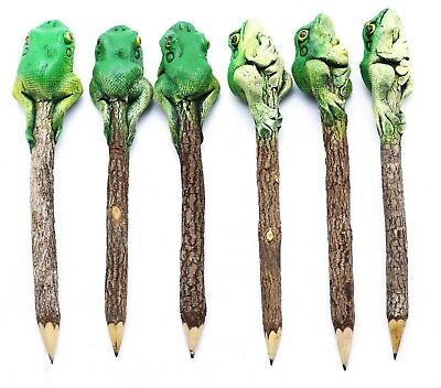 6 Pencil Green Frog Toad Personalized Bark Driftwood Collectible Sculpture Set