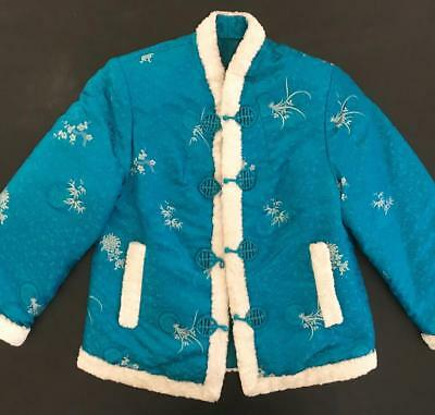 Vintage Child's Turquoise Embroidered Padded Faux Fur Trimmed Asian Jacket