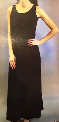 FEVER BLACK MAXI DRESS W/ Braided Belt Polyester Blend Large New With Tags