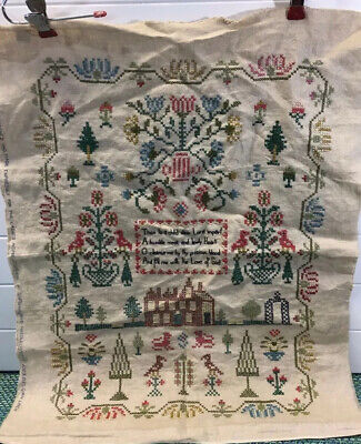 Paragon Antique Cross Stitch Sampler Finished FROM LADIES HOME JOURNAL