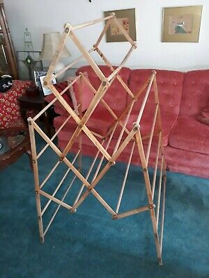 """Large Antique """"Space Saver"""" Brand Wooden Clothes Drying Rack Primitive  Folding"""