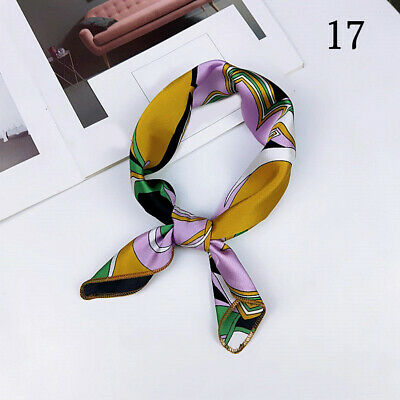 Lady Small Square Satin Head Neck Scarf Bandana Hair Tie Band Wraps Handkerchief