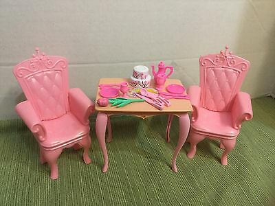 Barbie Doll Furniture LOT 17pcs Pink Table Royal Chairs Food Plate Setting