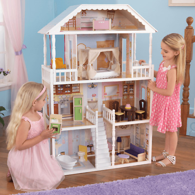 NEW KidKraft Savannah Dollhouse 14pc Furniture Pretend Play Girls Barbies 65023