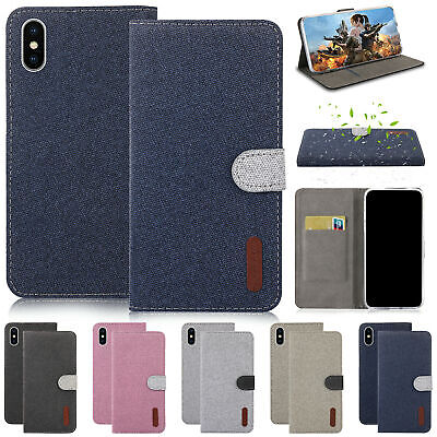 For iPhone XS Max XR X 5 7 8 6 Plus Case Magnetic Canvas Flip Wallet Stand Cover