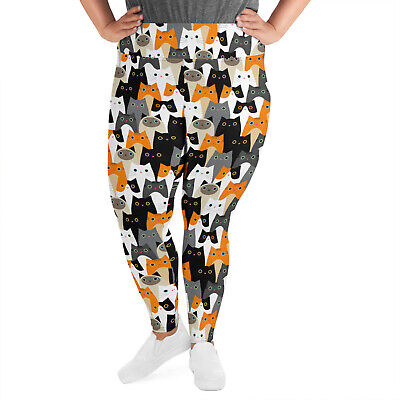 3e9f9ef503193 Crazy Cat Lady Plus Size Leggings For Women High Rise Waisted Workout Yoga  Pants