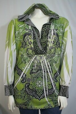 1372ccc2 Lane Bryant Woman Plus 26W 28W Green Sublimation Rhinestone Hooded Shirt  Jacket