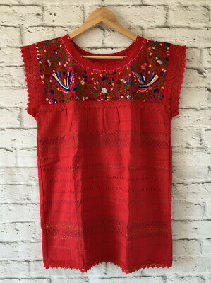 Handmade Womens Embroidered Mexican Blouse Red Medium Large Blusa Artesanal