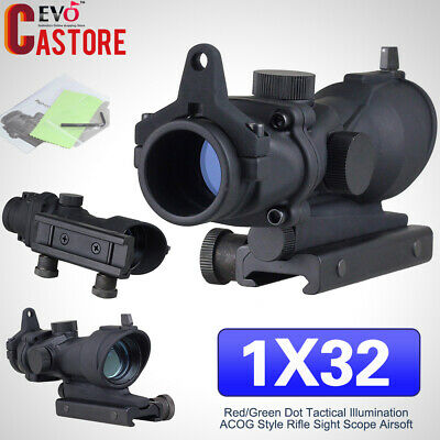 1x32 Red Green Dot Tactical Illumination ACOG Style Rifle Sight Scope Airsoft