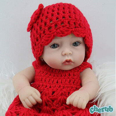 """10"""" Realistic Newborn Baby Vinyl Silicone Reborn Doll Girl in Red Sweater"""