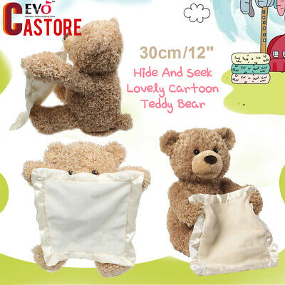 Cute Teddy Bear Peek a Boo Play Hide And Seek Soft Brown Christmas Toy Gift