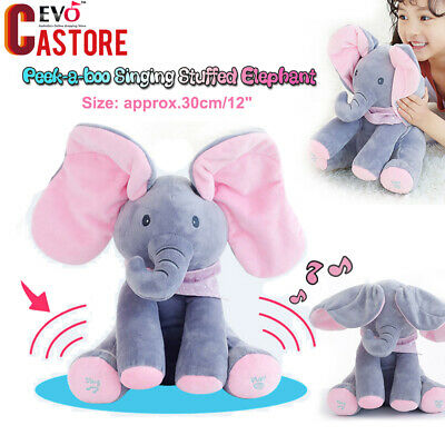 Amazing Peek-a-boo Singing Elephant Plush Stuffed Animal Toy Baby Kids Doll