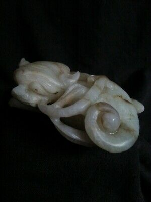 Finely carved Chinese white Nephrite Jade Lion Beast, 18th century