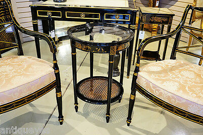 Gorgeous Black Lacquer CHINESE Chinoiserie Glass & Cane Occasional Lamp Table