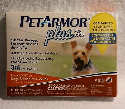 Pet Armor Plus For Dogs & Puppies 4-22 Lbs /over 8 Weeks Of Age ~3 Applications~