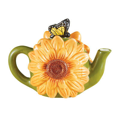 Sunflower And Butterfly Hand-Painted Teapot, by Collections Etc
