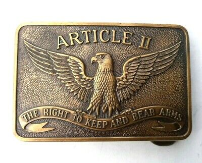 Vintage Brass Belt Buckle Eagle Article II The Right to Keep and Bear Arms USA