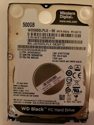 Western Digital Black 500GB Hard Drive Windows 10 WD5000LPLX 8/27/2018 Sata