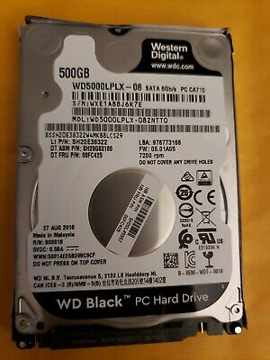 Western Digital 500GB Hard Drive Windows 10 WD5000LPLX 8/27/2018 Sata 6 gb/sec 2