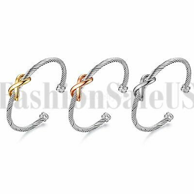 Fashion Women's Ladies Stainless Steel Charm Infinity Open Cuff Bracelet Bangle
