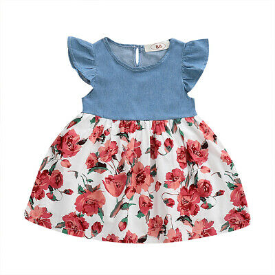 Toddler Kids Baby Girl Princess Dress Outfit Denim Party Sundress Clothes