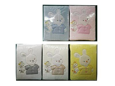 [50%OFF!] Microfibre Embroidery Baby Cot Blanket -Rabbit
