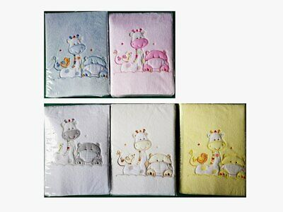 [50%OFF!] Microfibre Embroidery Baby Cot Blanket - Giraffe