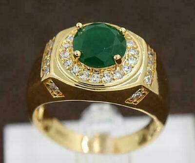 Vintage Emerald Diamond 14k Yellow Gold Finish Men's Wedding Band Ring