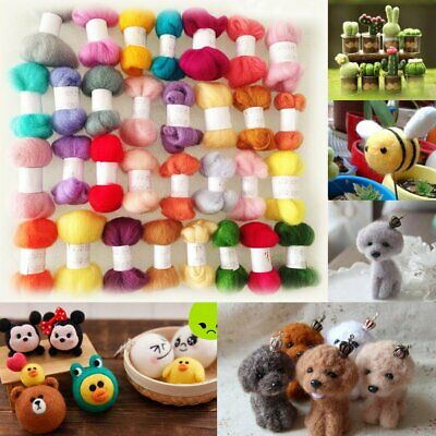 50 Colors DIY Wool Fibre Roving Needle Felting Hand Spinning Crafts