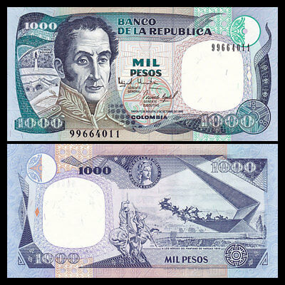 Colombia 1000 Pesos Banknote, 1995, P-438, UNC,South America Paper Money